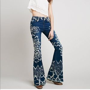Free People Dominica Boho Print Flare Jeans